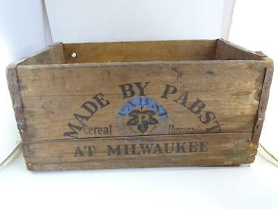 Antique Advertising Wood Crate Cereal Beverage Prohibition Beer Pabst Milwaukee