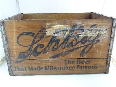 Antique Advertising Wood Crate Schlitz Brewing Beer Bottle Milwaukee WI Vintage