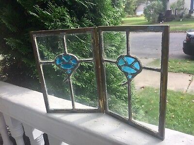 Leaded Glass Double Panel With Hinged Brass Frame Artisan Handmade