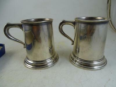 "Vintage Sterling Silver Baby Birth Mug Cup Set International 3.5"" Tall 1960s Old"