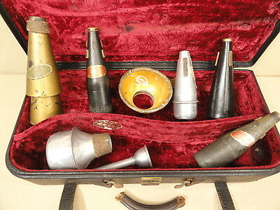 Antique Trumpet Brass Mute Lot Harmon Wow Wow Shastock Tonalcolor Solotone Vtg