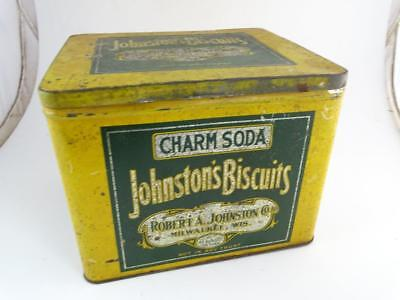 Antique Advertising Tin Can Box Charm Soda Johnston's Biscuits Milwaukee WI Vtg