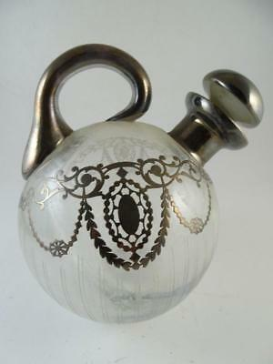 Antique Cut Glass Sterling Silver Brandy Decanter Bottle Vintage 1910s Bar Old