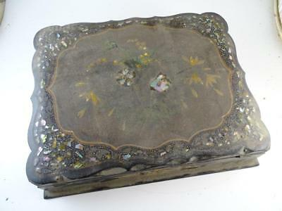 Antique Victorian Writing Box Compendium Abalone Composition Traveling Desk Vtg