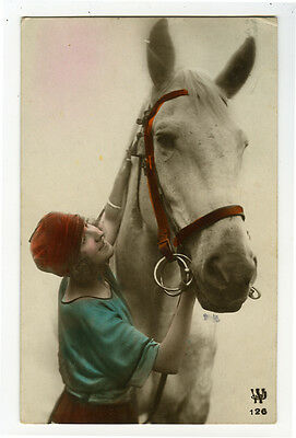 1920's French Deco Glamour LADY w/ HORSE tinted photo postcard
