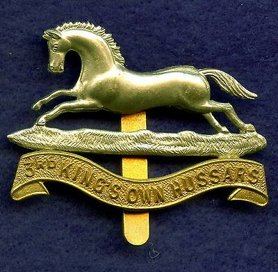 WW2 Great Britain 3rd King's Own Hussars Cap Badge 40 mm x 50 mm
