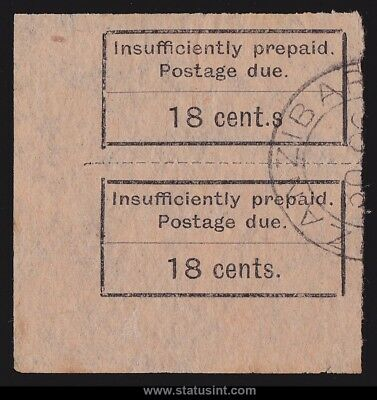 ZANZIBAR : 1926 Postage Due 18c VARIETY PHOTO  CERTIFICATE .