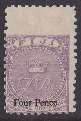 Fiji : 1878 Surcharged  Crown VR 4d/1d .