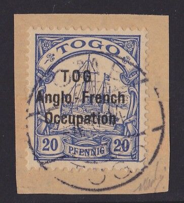 """Togo Anglo French Occupation 1914 Yacht 20pf """"TOG"""" VARIETY EXPERTISED Cat €10000"""