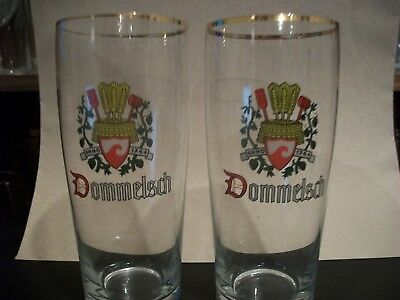2- Vintage Gold Rimmed Dommelsch- Dutch'- Beer Glasses