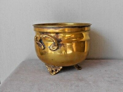 French Vintage BRASS PLANTER Jardiniere on 3 ornate legs