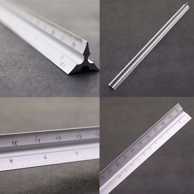 Aluminium Alloy Scale Tri Rule 30cm Triangluar Ruler Architects Engineers NEW