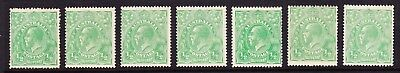 KGV 1/2d Green S/C Wmk Selection of 7 Mint Copies SG 20 ACSC 63
