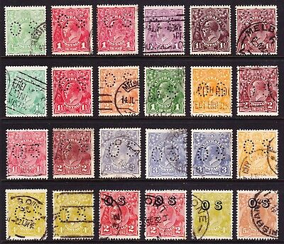 KGV Selection of O.S. Perfin and Overprint Officials.