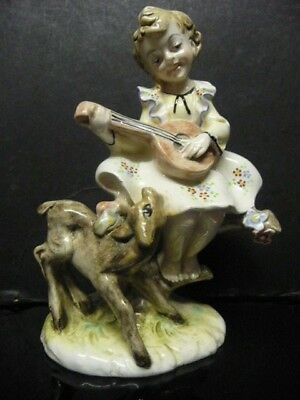 Italian Pottery/porcelain  Girl & Baby Deer, Signed To Base 'italy 572'