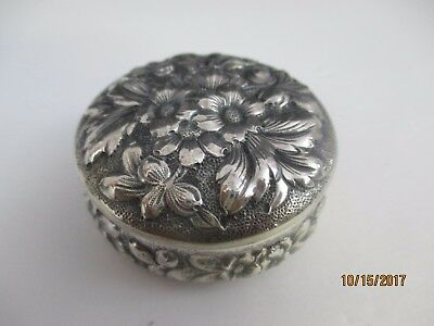Antique Large Sterling Silver Pill Box -  Floral Repousse