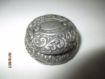 Antique Sterling Silver Pill Box -   Repousse  With Shield -Early Gorham