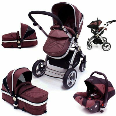 SALE!!! iSafe 3 in 1 Pram System - Hot Chocolate Pram Travel System + Carseat