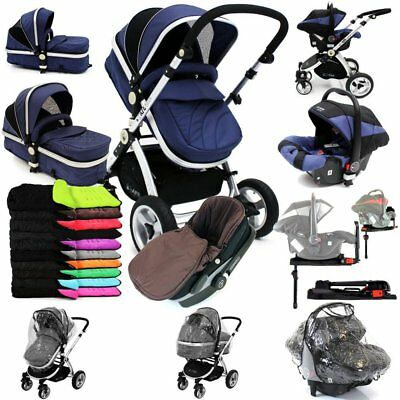 iSafe 3 in 1 Pram System - Navy (Dark Blue) + Carseat + Isofix Base + Footmuff &