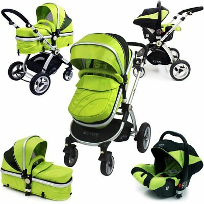 SALE!!! iSafe 3 in 1 Pram System - Lime Travel System + Carseat