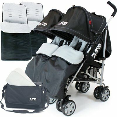 Zeta Twin Stroller - Black Complete With x2 Deluxe footmuff + Changing Bag + Rai