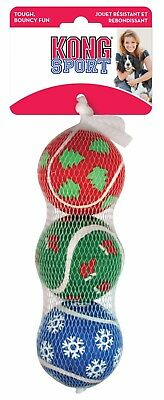 Kong Holiday Christmas 3 Pack Medium Sports Balls Dog Toy Xmas Gift Tennis Ball