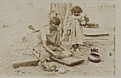 India, Woman and Child Baking Bread,Photographic Pre WW1 Postcard.SEe Scans