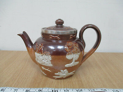Royal Doulton Antique Clay Teapot 4739 Sprigged Stag Hunt c1910 Silver Collar