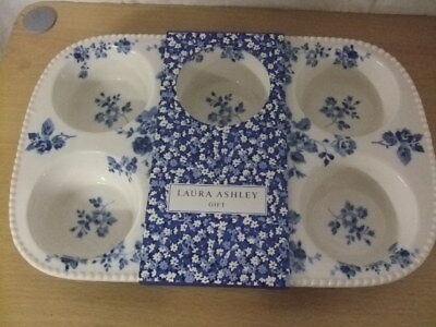 NWT Laura Ashley Ceramic Cupcake and Muffin Tray Blue White Pattern