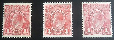 KGV 1d Red Single Crown Wmk Smooth Paper 3 Mint Shades. SG 21 ACSC 71