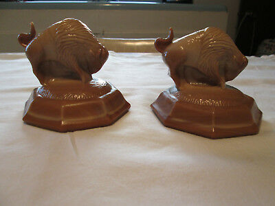 ART DECO 2 BUFFALO BISON by JOE ST CLAIR, CARAMEL SLAG GLASS PAPER WEIGHT