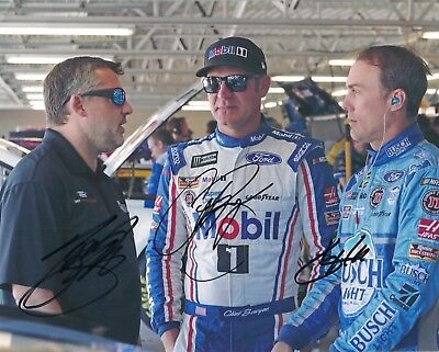 Tony Stewart Clint Bowyer Kevin Harvick 2017 MENCS *TEAM TALK* autographed photo