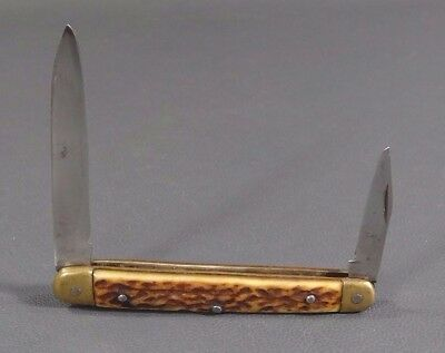 WWII German Officer Pocket Folding Two Blade Knife Hunting Deer Stag Horn Handle
