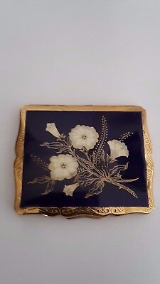 Vintage Stratton Deep Blue Gold Tone/plated Compact Unused
