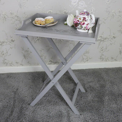 Large grey wooden ornate butlers tray table folding stand shabby vintage chic