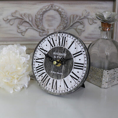 Small rustic style mantel shelf clock shabby vintage chic Roman numeral gift