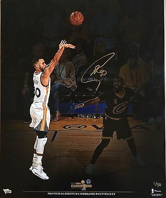 STEPHEN CURRY Autographed 2017 NBA Finals 20 x 24 Photograph FANATICS LE 1/30