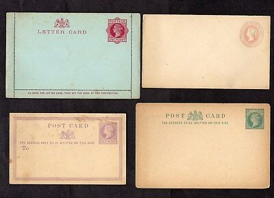 1860s-1900s.4x DIFF'T QUEEN VICTORIA POSTAL STATIONERY CARDS/ENVELOPES.UNUSED.