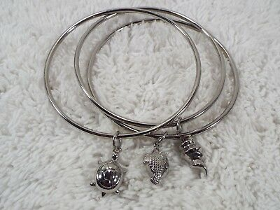 3 pc Stainless Steel Sea Charm Shell Turtle Fish Bangle Bracelet Set (C19)