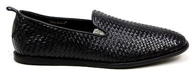 Mens H By Hudson Rio Weave Black Leather Fashion Casual Slip On Shoes Uk Size 9