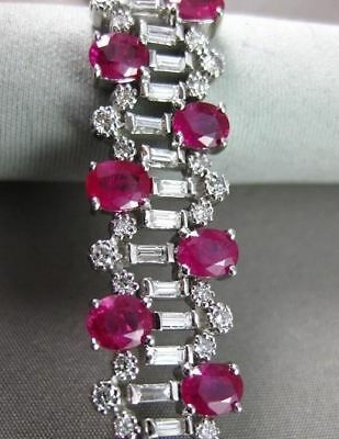 Antique Wide 17.76Ct Diamond & Aaa Ruby 14Kt White Gold  Bracelet Stunning !!!!!