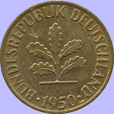 Germany 1950 'D' 5 Pfennig Coin