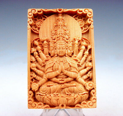 Wooden Detailed Carved Pendant Sculpture Thousand Arms Kwan-Yin Buddha #101617