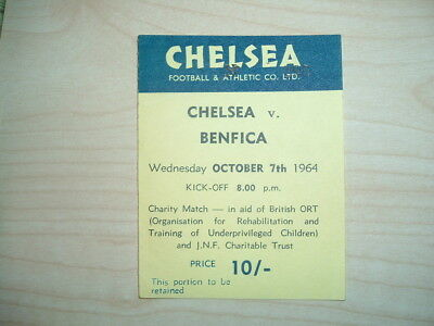 Chelsea V Benfica - Charity Match - Wed October 7Th 1964 - Rare Ticket !!!!!!