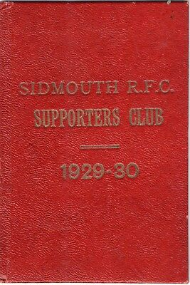 Sidmouth RFC Supporters Club Fixtures/Rule Book 1929-30