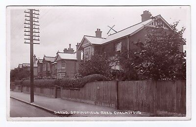 P3555 Original old RP postcard of Springfield Road, Chelmsford, Essex