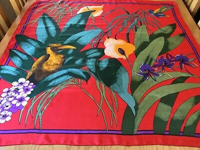 VINTAGE HAND ROLLED SILK SCARF.  BIRDS MIDST THE FLORA.  VGC.  34 x 32 INCHES. -