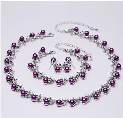 Purple Faux Pearl & Diamante Crystal Choker Necklace, Earrings & Bracelet Set