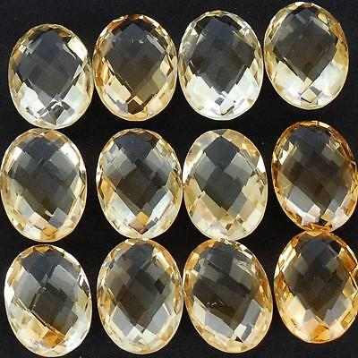 VVS 65 Cts/12 Pcs AAA Natural Citrine Oval Checkerboard Cut High End Gemstone