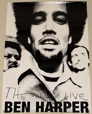"""BEN HARPER THE WILL TO LIVE LARGE PROMOTONAL POSTER 23.5 x 33"""""""